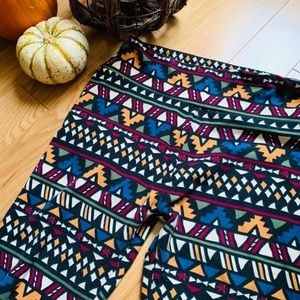 LulaRoe OS Leggings Geometric Fall Colors